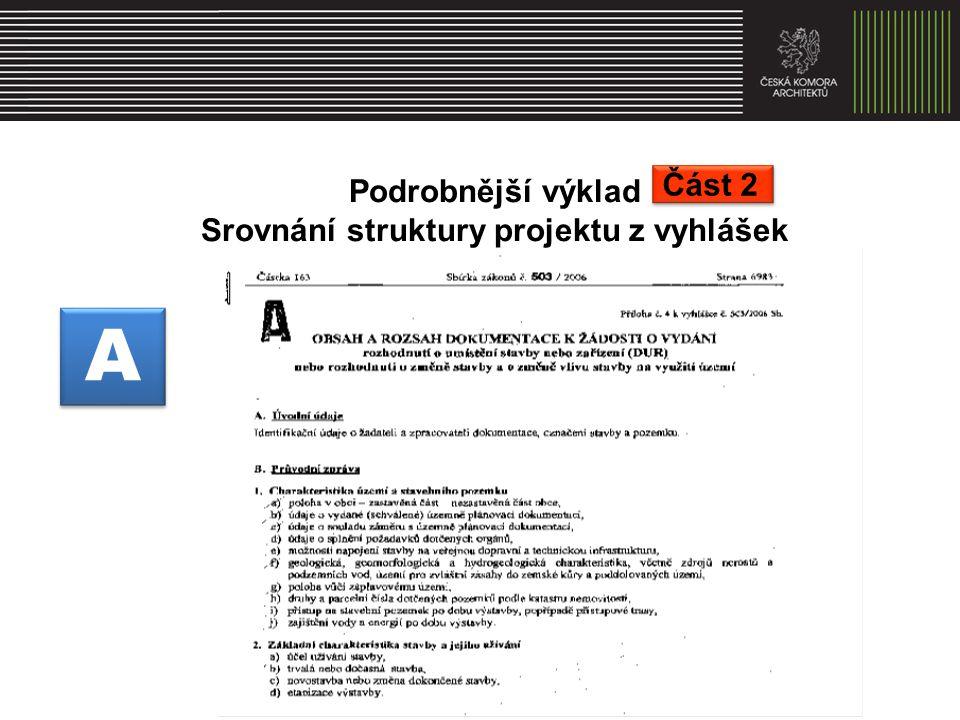 Podrobnější výklad Srovnání struktury projektu z vyhlášek A A Část 2