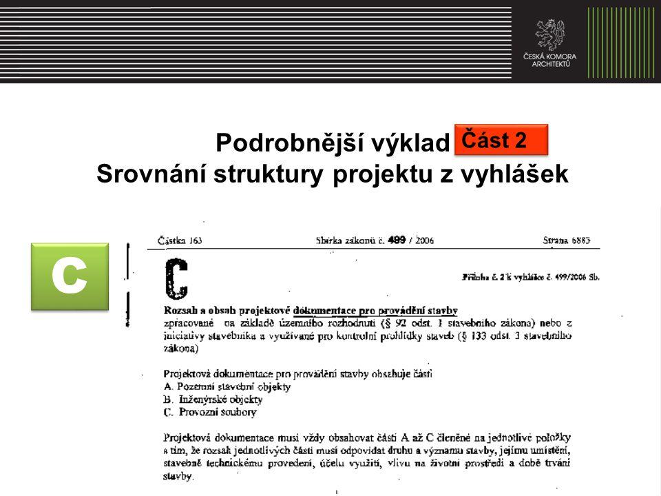 C C Podrobnější výklad Srovnání struktury projektu z vyhlášek Část 2