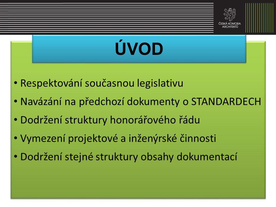 • Vytvoření STANDARDŮ v součinnosti s ČKAIT • konzultace pracovních textů s odbornou veřejností a dotčenou státní správou • převedení výsledného textu do CENÍKU • minimální obsah a rozsah jednotlivých dokumentací zaručující kladné projednání a souhlasné stanovisko orgánů státní správy • přiměřený obsah a jasnost výsledných dokumentů platná pomůcka pro stanovení předmětu plnění a cen • Vytvoření STANDARDŮ v součinnosti s ČKAIT • konzultace pracovních textů s odbornou veřejností a dotčenou státní správou • převedení výsledného textu do CENÍKU • minimální obsah a rozsah jednotlivých dokumentací zaručující kladné projednání a souhlasné stanovisko orgánů státní správy • přiměřený obsah a jasnost výsledných dokumentů platná pomůcka pro stanovení předmětu plnění a cen ÚVOD