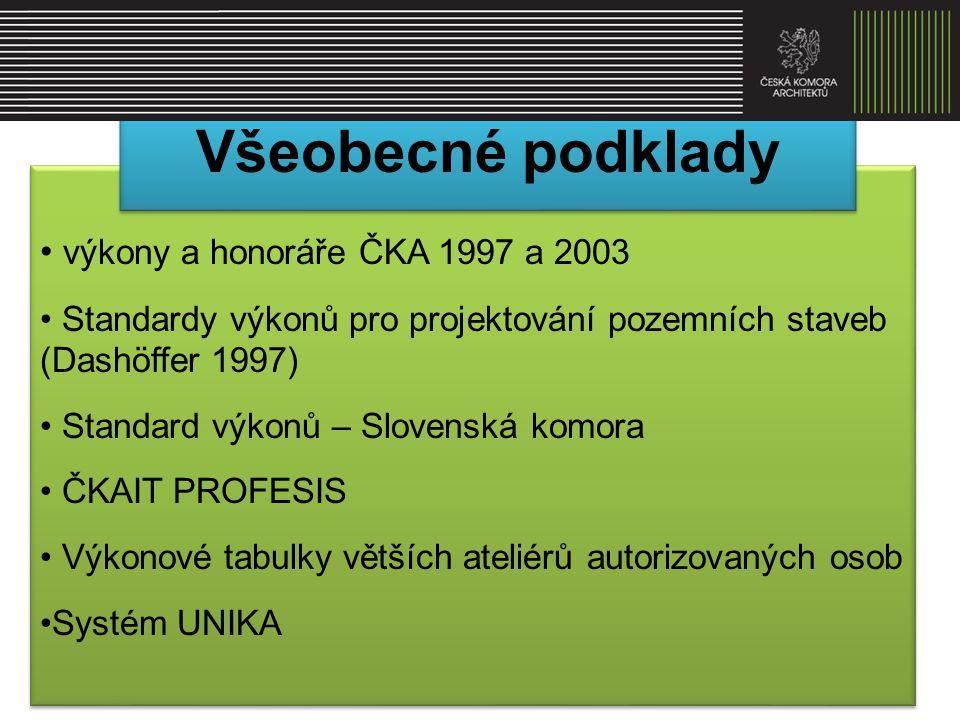 • výkony a honoráře ČKA 1997 a 2003 • Standardy výkonů pro projektování pozemních staveb (Dashöffer 1997) • Standard výkonů – Slovenská komora • ČKAIT