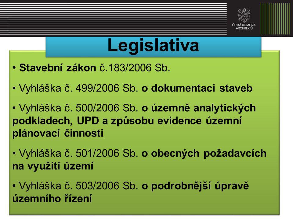 • Stavební zákon č.183/2006 Sb. • Vyhláška č. 499/2006 Sb. o dokumentaci staveb • Vyhláška č. 500/2006 Sb. o územně analytických podkladech, UPD a způ