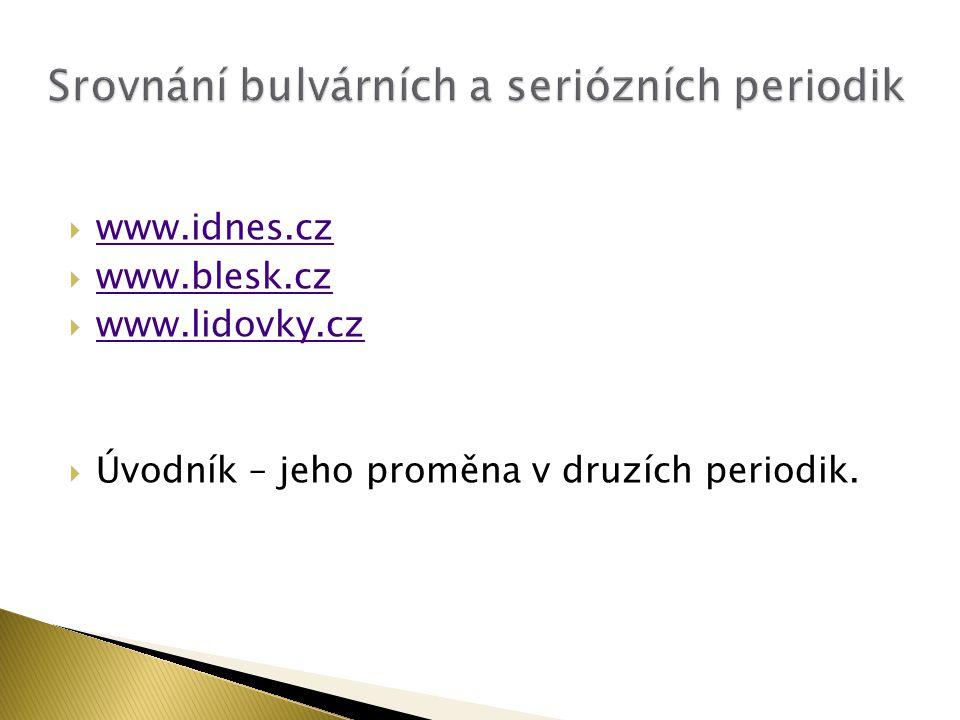  www.idnes.cz www.idnes.cz  www.blesk.cz www.blesk.cz  www.lidovky.cz www.lidovky.cz  Úvodník – jeho proměna v druzích periodik.