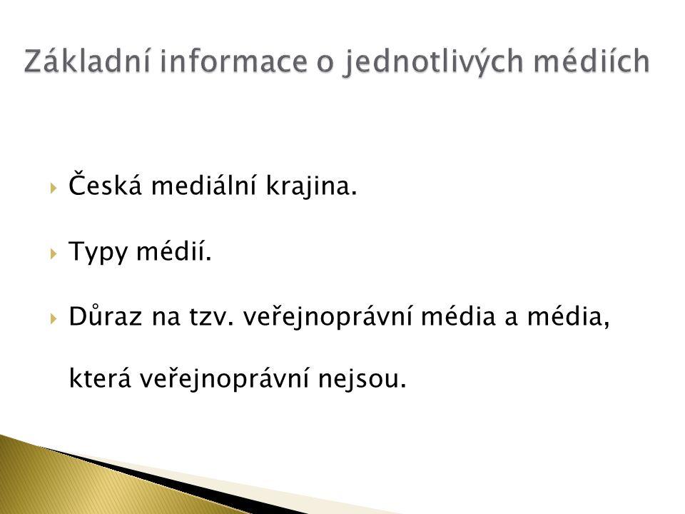  Česká mediální krajina.  Typy médií.  Důraz na tzv. veřejnoprávní média a média, která veřejnoprávní nejsou.