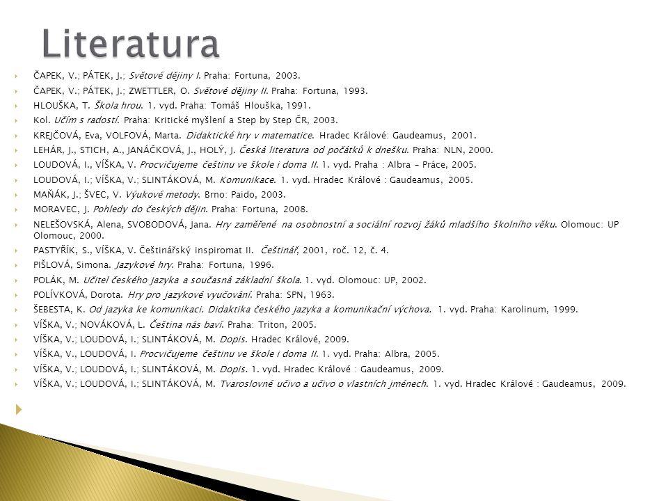  ČAPEK, V.; PÁTEK, J.; Světové dějiny I. Praha: Fortuna, 2003.  ČAPEK, V.; PÁTEK, J.; ZWETTLER, O. Světové dějiny II. Praha: Fortuna, 1993.  HLOUŠK