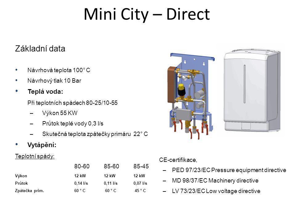 Mini City – Direct Základní data • Návrhová teplota 100° C • Návrhový tlak 10 Bar • Teplá voda: Při teplotních spádech 80-25/10-55 –Výkon 55 KW –Průto