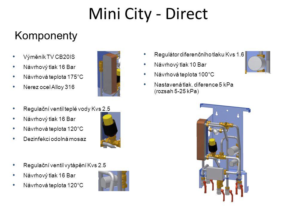 Mini City - Direct Komponenty • Výměník TV CB20IS • Návrhový tlak 16 Bar • Návrhová teplota 175°C • Nerez ocel Alloy 316 • Regulační ventil teplé vody