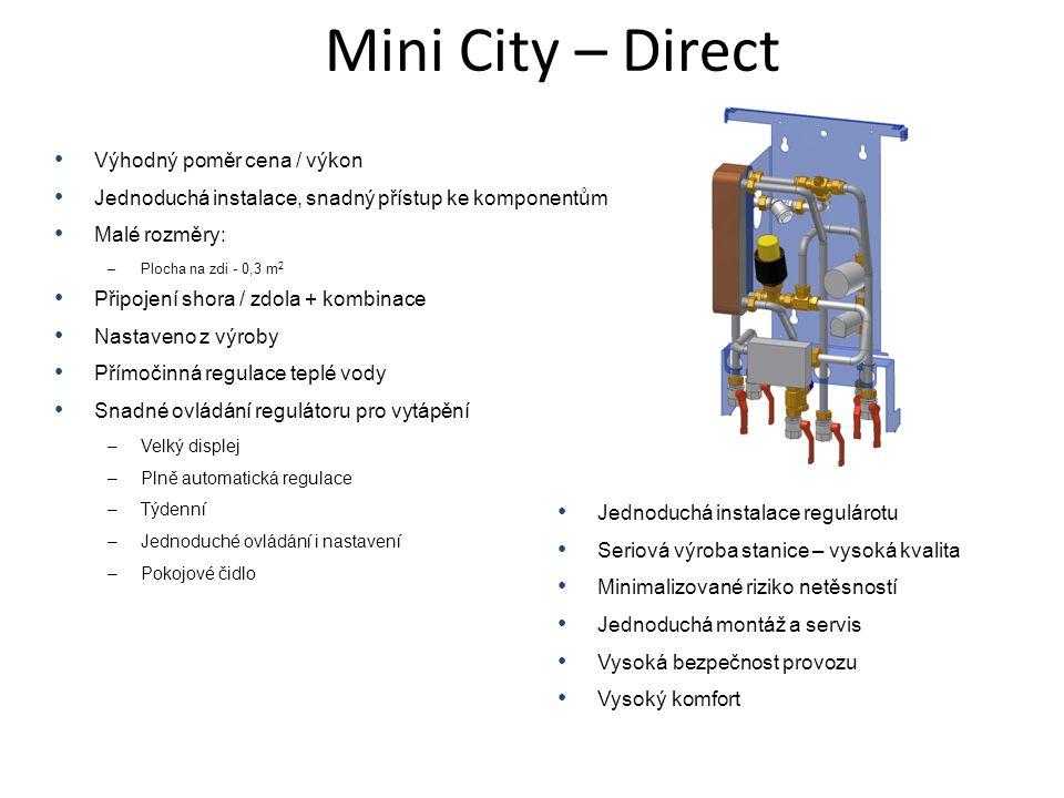 • Výhodný poměr cena / výkon • Jednoduchá instalace, snadný přístup ke komponentům • Malé rozměry: –Plocha na zdi - 0,3 m 2 • Připojení shora / zdola