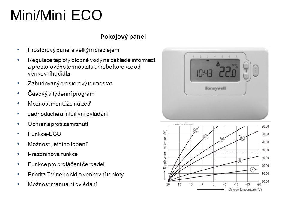 Pokojový panel Mini/Mini ECO • Prostorový panel s velkým displejem • Regulace teploty otopné vody na základě informací z prostorového termostatu a/neb