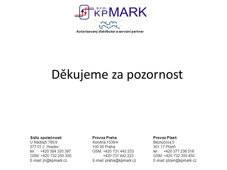 Děkujeme za pozornost Autorizovaný distributor a servisní partner Sídlo společnosti U Nádraží 795/II 377 01 J. Hradec tel.: +420 384 320 397 GSM: +420