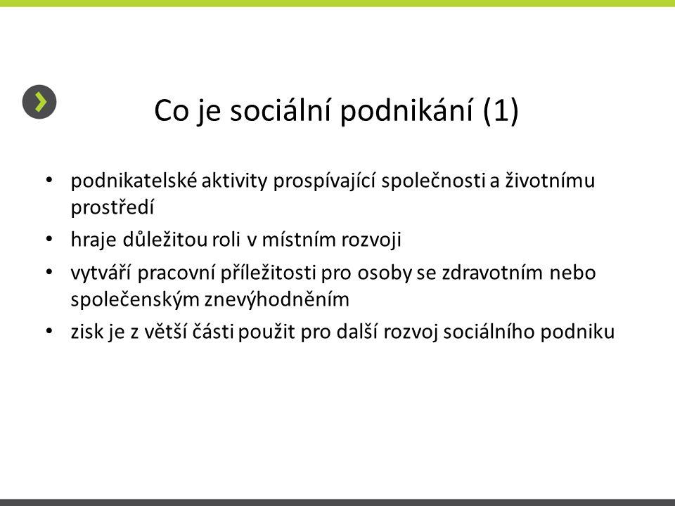 Co je sociální podnikání (1) • podnikatelské aktivity prospívající společnosti a životnímu prostředí • hraje důležitou roli v místním rozvoji • vytvář