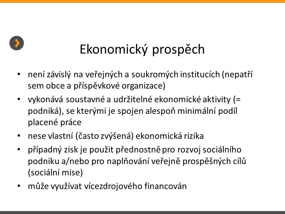 Ekonomický prospěch • není závislý na veřejných a soukromých institucích (nepatří sem obce a příspěvkové organizace) • vykonává soustavné a udržitelné