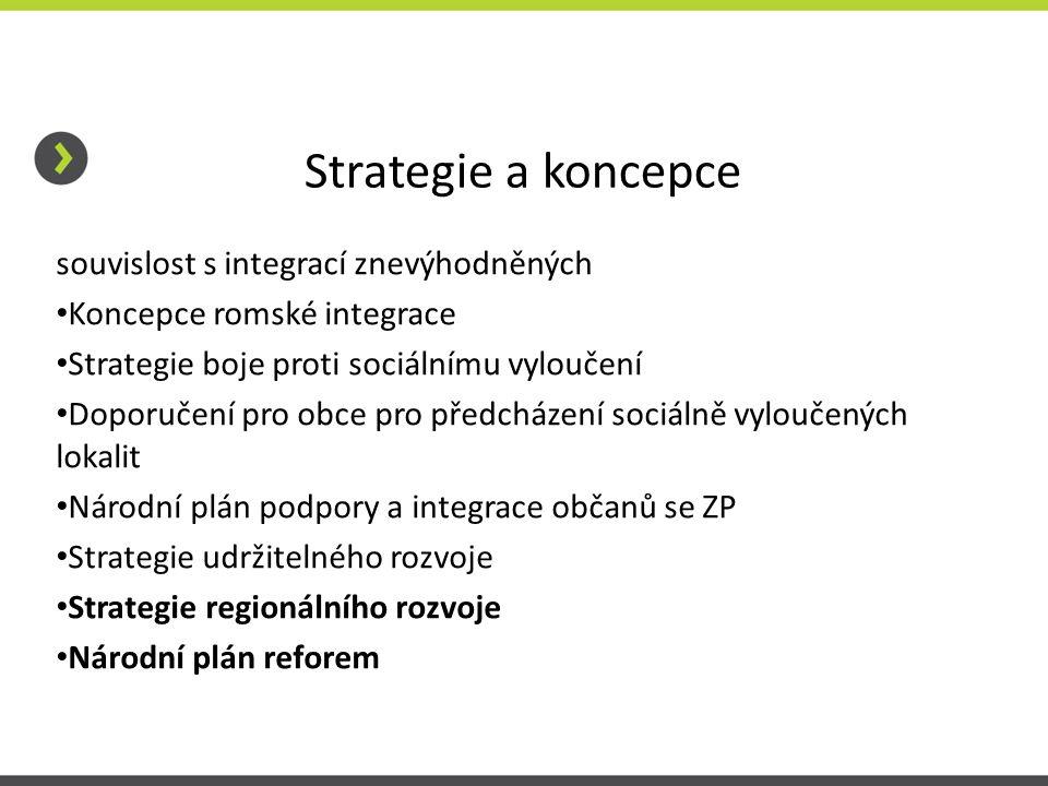 Strategie a koncepce souvislost s integrací znevýhodněných • Koncepce romské integrace • Strategie boje proti sociálnímu vyloučení • Doporučení pro ob