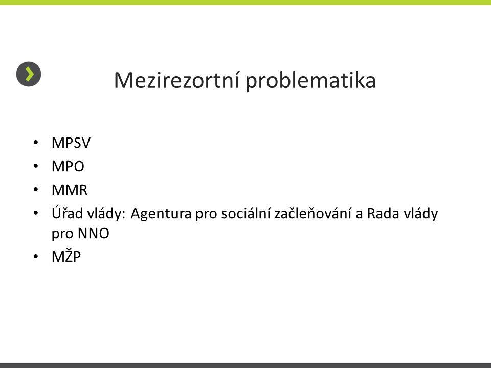 Mezirezortní problematika • MPSV • MPO • MMR • Úřad vlády: Agentura pro sociální začleňování a Rada vlády pro NNO • MŽP
