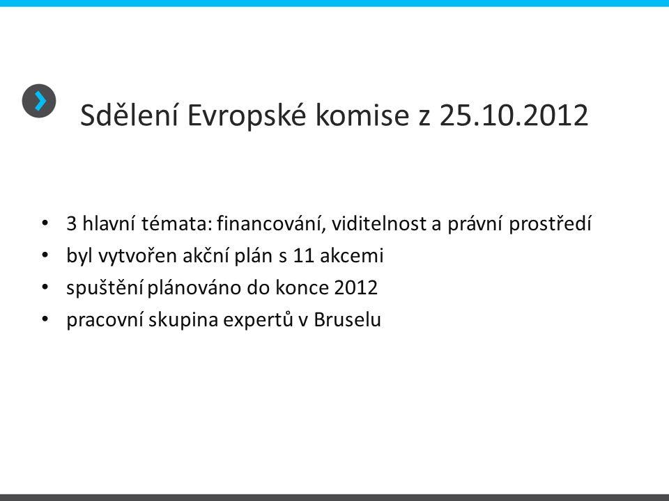 Sdělení Evropské komise z 25.10.2012 • 3 hlavní témata: financování, viditelnost a právní prostředí • byl vytvořen akční plán s 11 akcemi • spuštění p