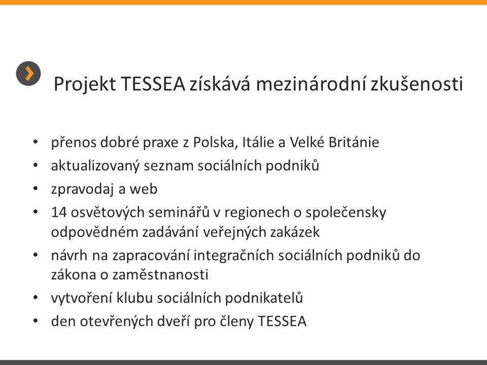 Projekt TESSEA získává mezinárodní zkušenosti • přenos dobré praxe z Polska, Itálie a Velké Británie • aktualizovaný seznam sociálních podniků • zprav