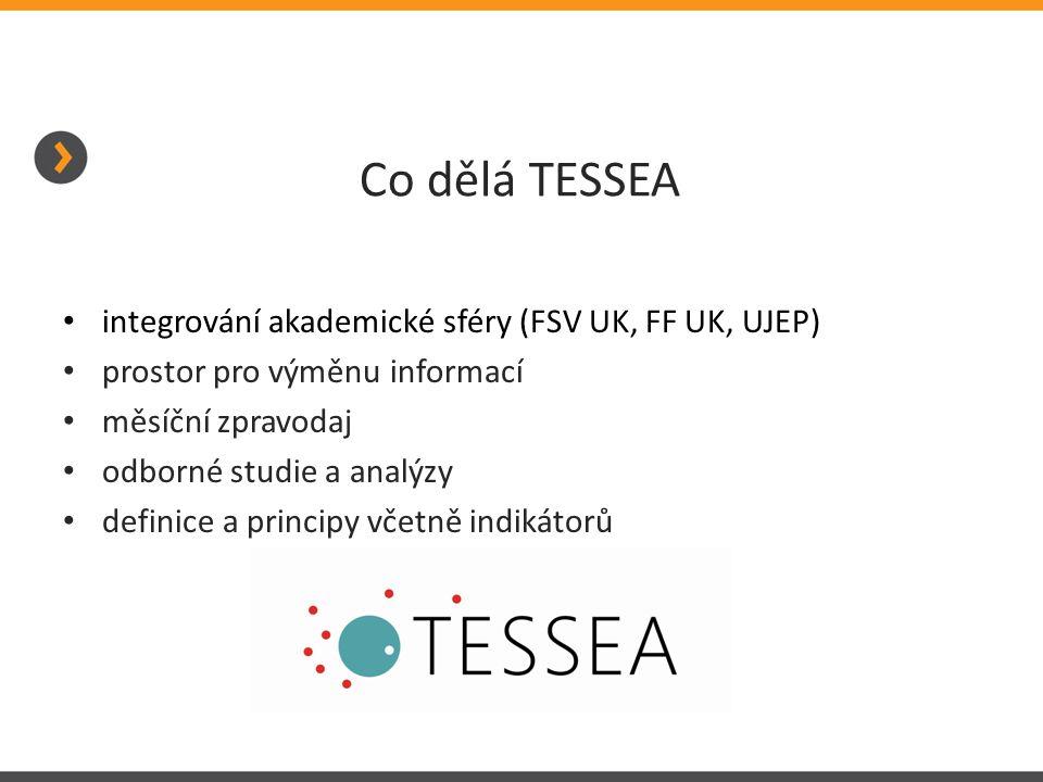 Co dělá TESSEA • integrování akademické sféry (FSV UK, FF UK, UJEP) • prostor pro výměnu informací • měsíční zpravodaj • odborné studie a analýzy • de