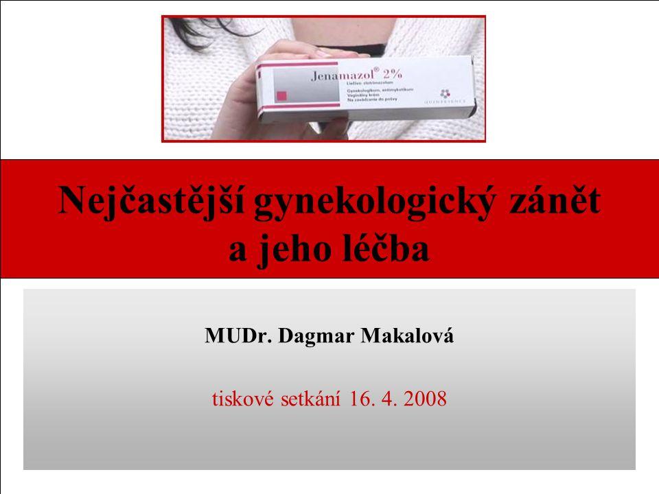 Nejčastější gynekologický zánět a jeho léčba MUDr. Dagmar Makalová tiskové setkání 16. 4. 2008