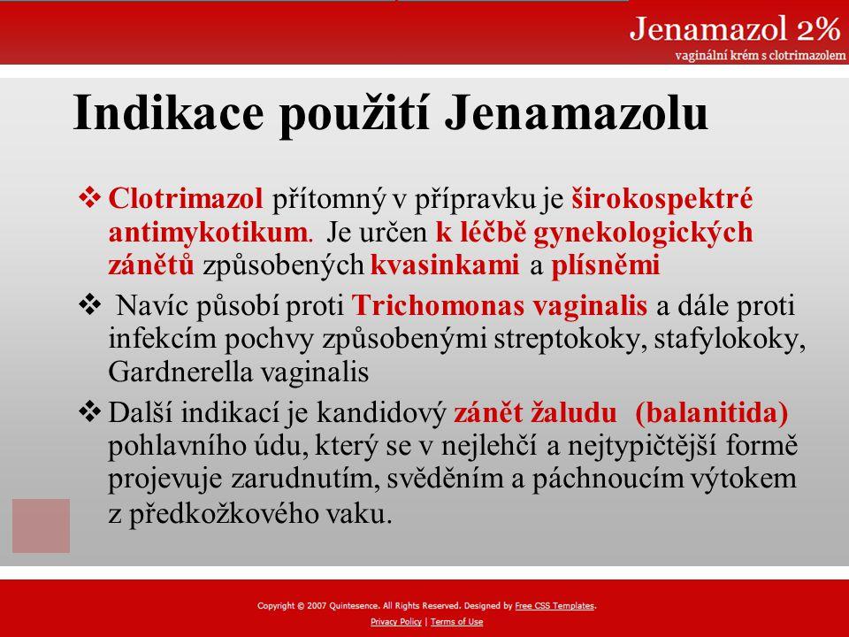Indikace použití Jenamazolu  Clotrimazol přítomný v přípravku je širokospektré antimykotikum.