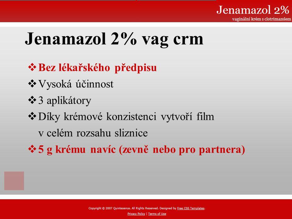 Jenamazol 2% vag crm  Bez lékařského předpisu  Vysoká účinnost  3 aplikátory  Díky krémové konzistenci vytvoří film v celém rozsahu sliznice  5 g krému navíc (zevně nebo pro partnera)