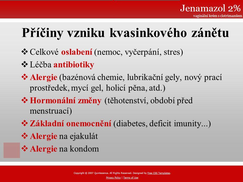 Příčiny vzniku kvasinkového zánětu  Celkové oslabení (nemoc, vyčerpání, stres)  Léčba antibiotiky  Alergie (bazénová chemie, lubrikační gely, nový prací prostředek, mycí gel, holicí pěna, atd.)  Hormonální změny (těhotenství, období před menstruací)  Základní onemocnění (diabetes, deficit imunity...)  Alergie na ejakulát  Alergie na kondom