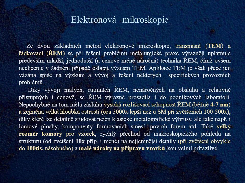 Elektronová mikroskopie Ze dvou základních metod elektronové mikroskopie, transmisní (TEM) a řádkovací (ŘEM) se při řešení problémů metalurgické praxe výrazněji uplatňuje především mladší, jednodušší (a cenově méně náročná) technika ŘEM, čímž ovšem nechceme v žádném případě oslabit význam TEM.