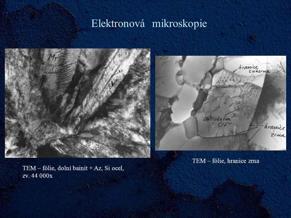 Elektronová mikroskopie TEM – fólie, dolní bainit + Az, Si ocel, zv.