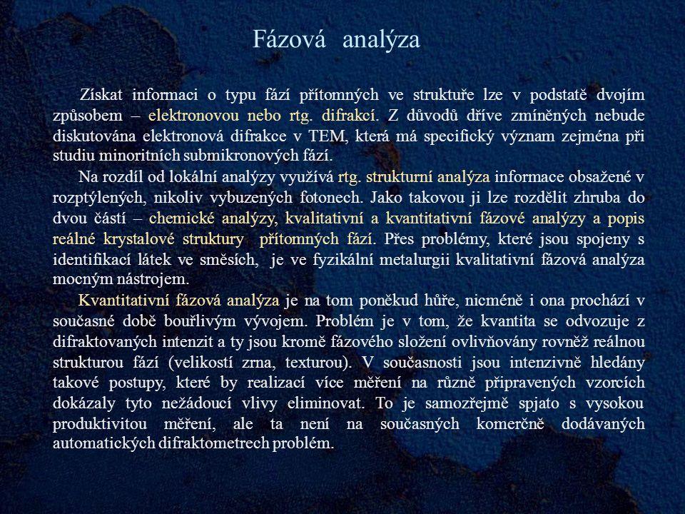 Fázová analýza Získat informaci o typu fází přítomných ve struktuře lze v podstatě dvojím způsobem – elektronovou nebo rtg.