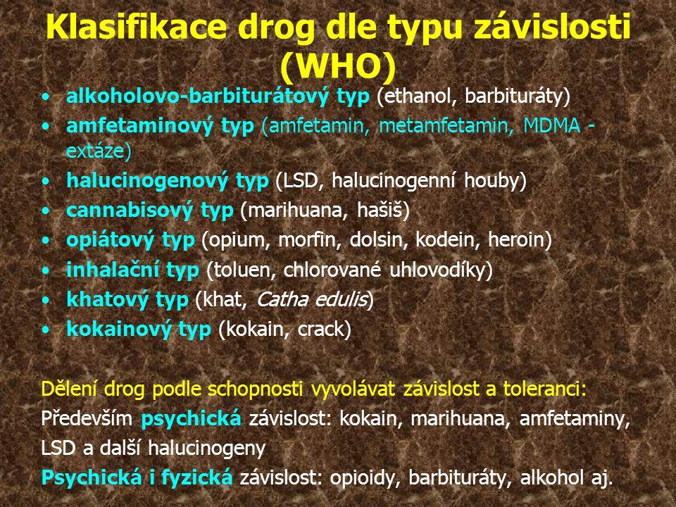 Klasifikace drog dle typu závislosti (WHO) •alkoholovo-barbiturátový typ (ethanol, barbituráty) •amfetaminový typ (amfetamin, metamfetamin, MDMA - ext