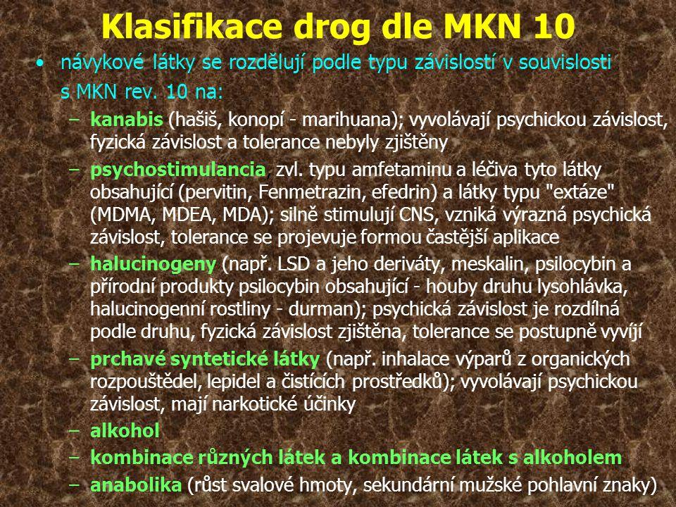 Klasifikace drog dle MKN 10 •návykové látky se rozdělují podle typu závislostí v souvislosti s MKN rev. 10 na: –kanabis (hašiš, konopí - marihuana); v
