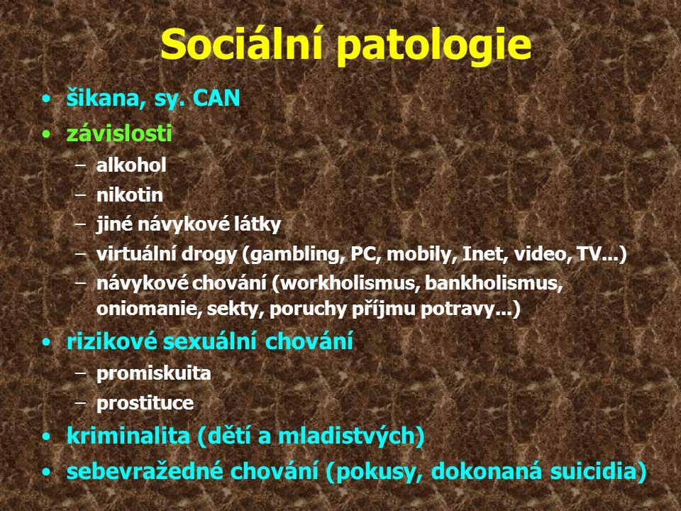 Sociální patologie •šikana, sy. CAN •závislosti –alkohol –nikotin –jiné návykové látky –virtuální drogy (gambling, PC, mobily, Inet, video, TV...) –ná