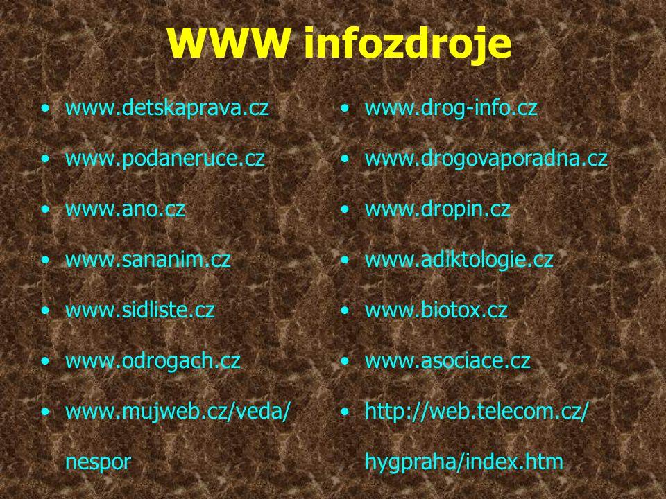 WWW infozdroje •www.detskaprava.cz •www.podaneruce.cz •www.ano.cz •www.sananim.cz •www.sidliste.cz •www.odrogach.cz •www.mujweb.cz/veda/ nespor •www.d
