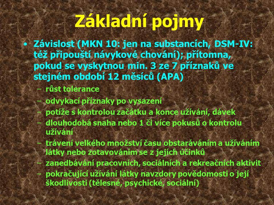 •Závislost (MKN 10: jen na substancích, DSM-IV: též připouští návykové chování); přítomna, pokud se vyskytnou min. 3 ze 7 příznaků ve stejném období 1