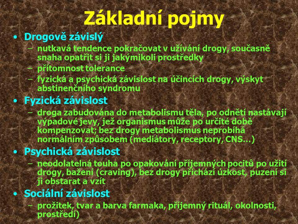 •Drogově závislý –nutkavá tendence pokračovat v užívání drogy, současně snaha opatřit si ji jakýmikoli prostředky –přítomnost tolerance –fyzická a psy