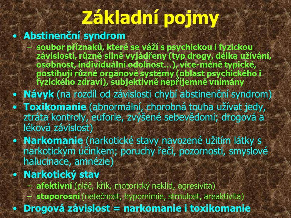 •Abstinenční syndrom –soubor příznaků, které se váží s psychickou i fyzickou závislostí, různě silně vyjádřeny (typ drogy, délka užívání, osobnost, in