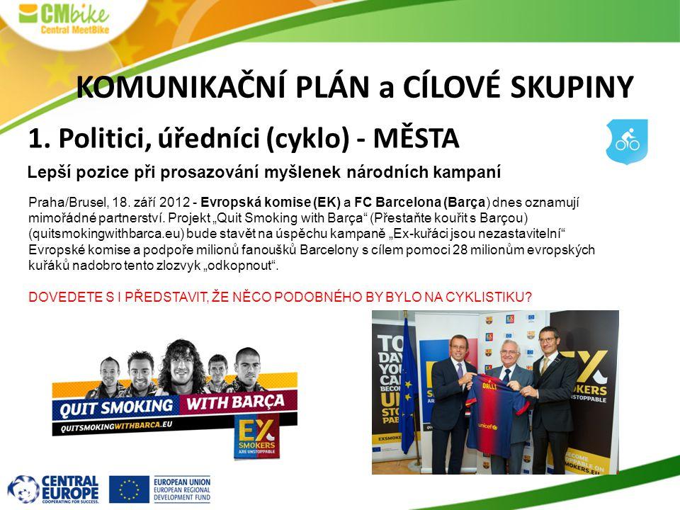 KOMUNIKAČNÍ PLÁN a CÍLOVÉ SKUPINY 1. Politici, úředníci (cyklo) - MĚSTA Lepší pozice při prosazování myšlenek národních kampaní Praha/Brusel, 18. září