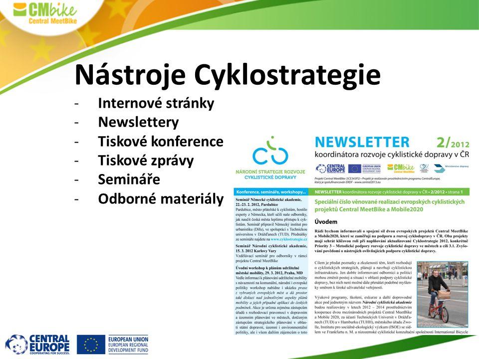 Nástroje Cyklostrategie -Internové stránky -Newslettery -Tiskové konference -Tiskové zprávy -Semináře -Odborné materiály
