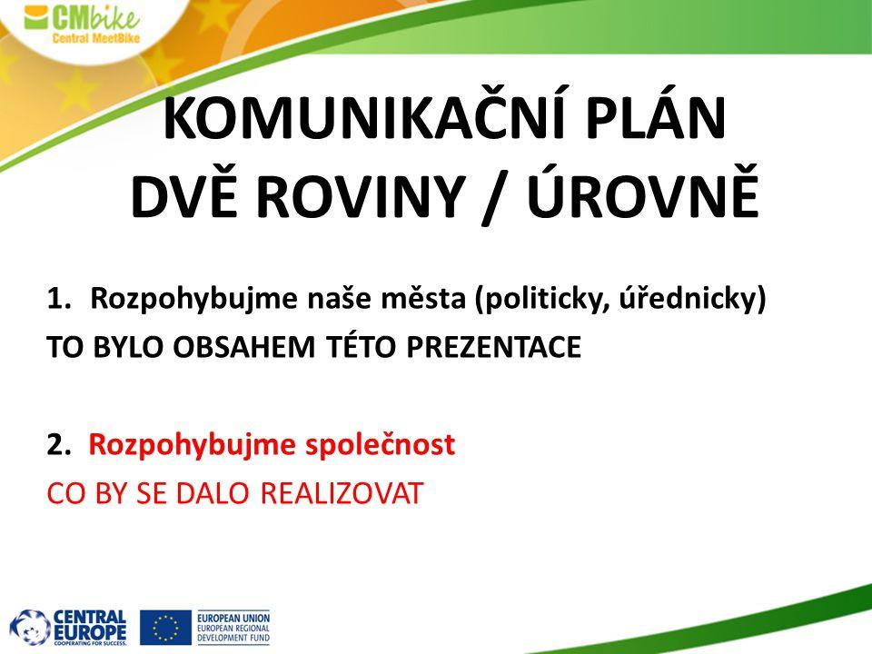 KOMUNIKAČNÍ PLÁN DVĚ ROVINY / ÚROVNĚ 1.Rozpohybujme naše města (politicky, úřednicky) TO BYLO OBSAHEM TÉTO PREZENTACE 2.