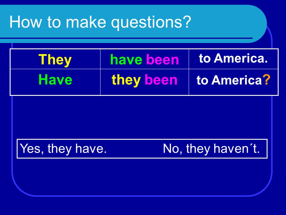 How to make questions? They have been to America. Havethey been to America ? Yes, they have.No, they haven´t.