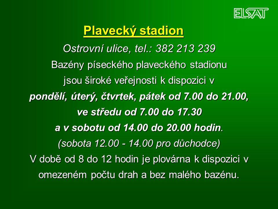 Plavecký stadion Ostrovní ulice, tel.: 382 213 239 Bazény píseckého plaveckého stadionu jsou široké veřejnosti k dispozici v pondělí, úterý, čtvrtek,