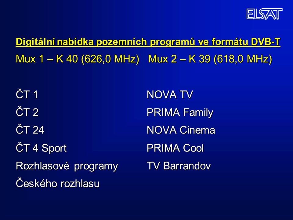 Digitální nabídka pozemních programů ve formátu DVB-T Mux 1 – K 40 (626,0 MHz) Mux 2 – K 39 (618,0 MHz) ČT 1 NOVA TV ČT 2 PRIMA Family ČT 24 NOVA Cine