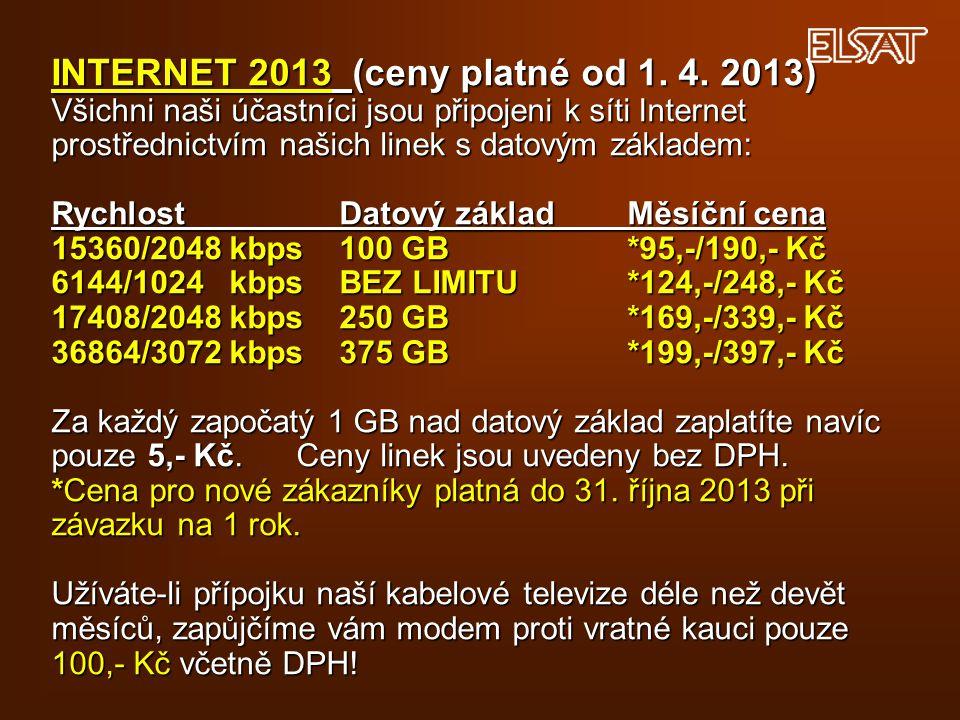 INTERNET 2013 (ceny platné od 1. 4. 2013) Všichni naši účastníci jsou připojeni k síti Internet prostřednictvím našich linek s datovým základem: Rychl