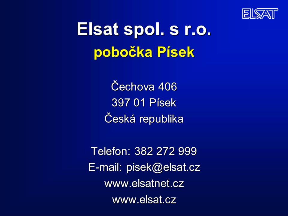Elsat spol. s r.o. pobočka Písek Čechova 406 397 01 Písek Česká republika Telefon: 382 272 999 E-mail: pisek@elsat.cz www.elsatnet.cz www.elsat.cz