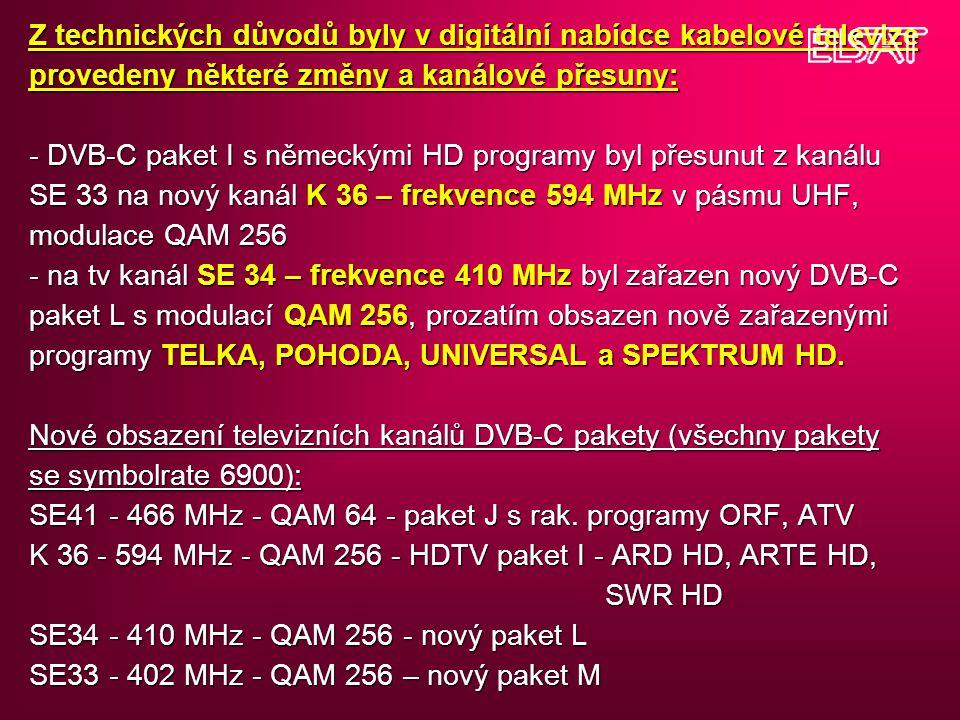 Z technických důvodů byly v digitální nabídce kabelové televize provedeny některé změny a kanálové přesuny: - DVB-C paket I s německými HD programy by