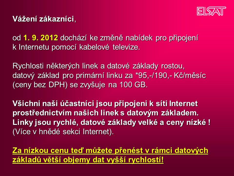 Vážení zákazníci, od 1. 9. 2012 dochází ke změně nabídek pro připojení k Internetu pomocí kabelové televize. Rychlosti některých linek a datové základ
