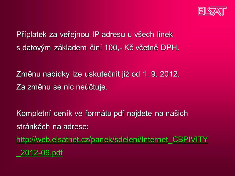 Příplatek za veřejnou IP adresu u všech linek s datovým základem činí 100,- Kč včetně DPH. Změnu nabídky lze uskutečnit již od 1. 9. 2012. Za změnu se