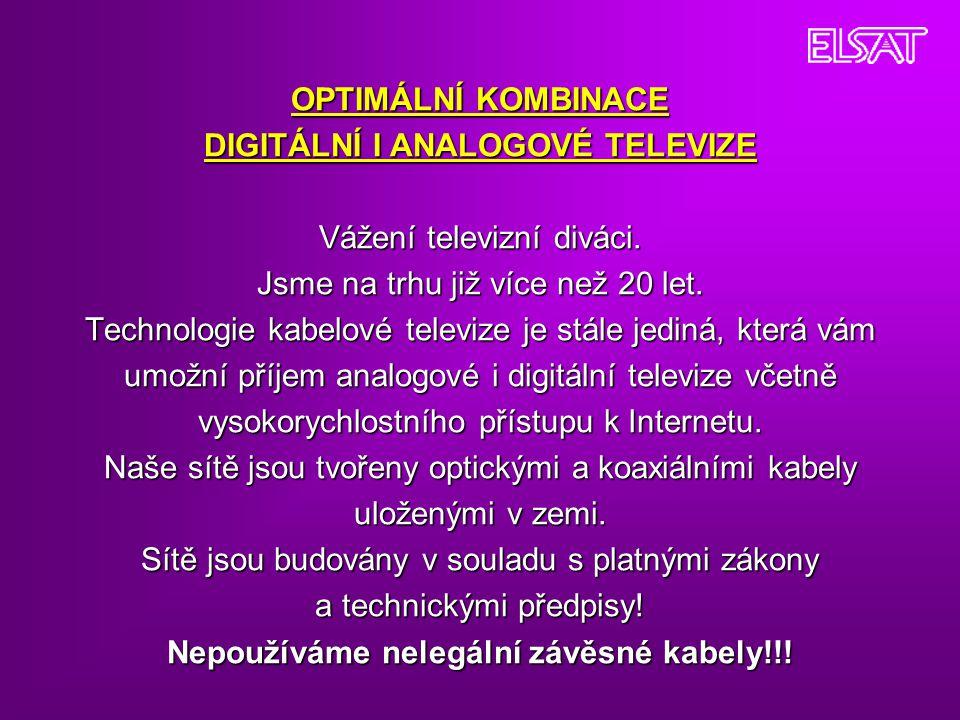 OPTIMÁLNÍ KOMBINACE DIGITÁLNÍ I ANALOGOVÉ TELEVIZE Vážení televizní diváci. Jsme na trhu již více než 20 let. Technologie kabelové televize je stále j