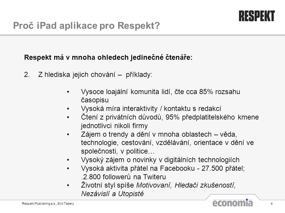 Respekt Publishing a.s., Erik Tabery4 Proč iPad aplikace pro Respekt? Respekt má v mnoha ohledech jedinečné čtenáře: 2.Z hlediska jejich chování – pří
