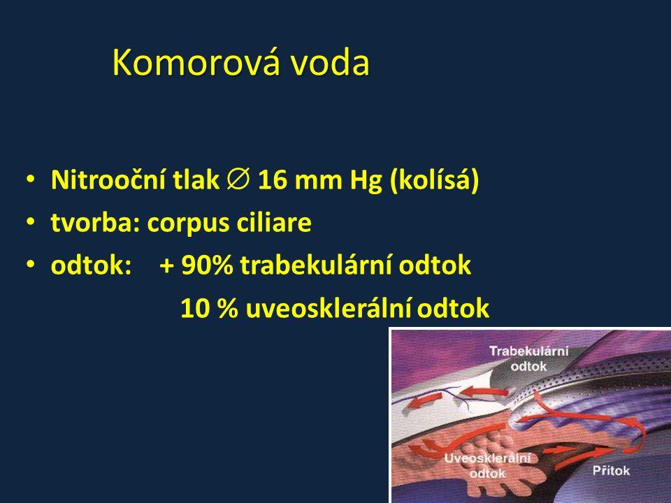 Komorová voda • Nitrooční tlak  16 mm Hg (kolísá) • tvorba: corpus ciliare • odtok:+ 90% trabekulární odtok 10 % uveosklerální odtok