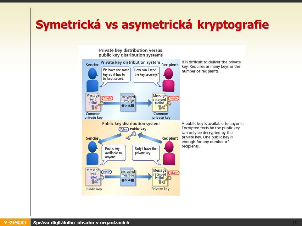 Y39SDO Správa digitálního obsahu v organizacích 17 Symetrická vs asymetrická kryptografie