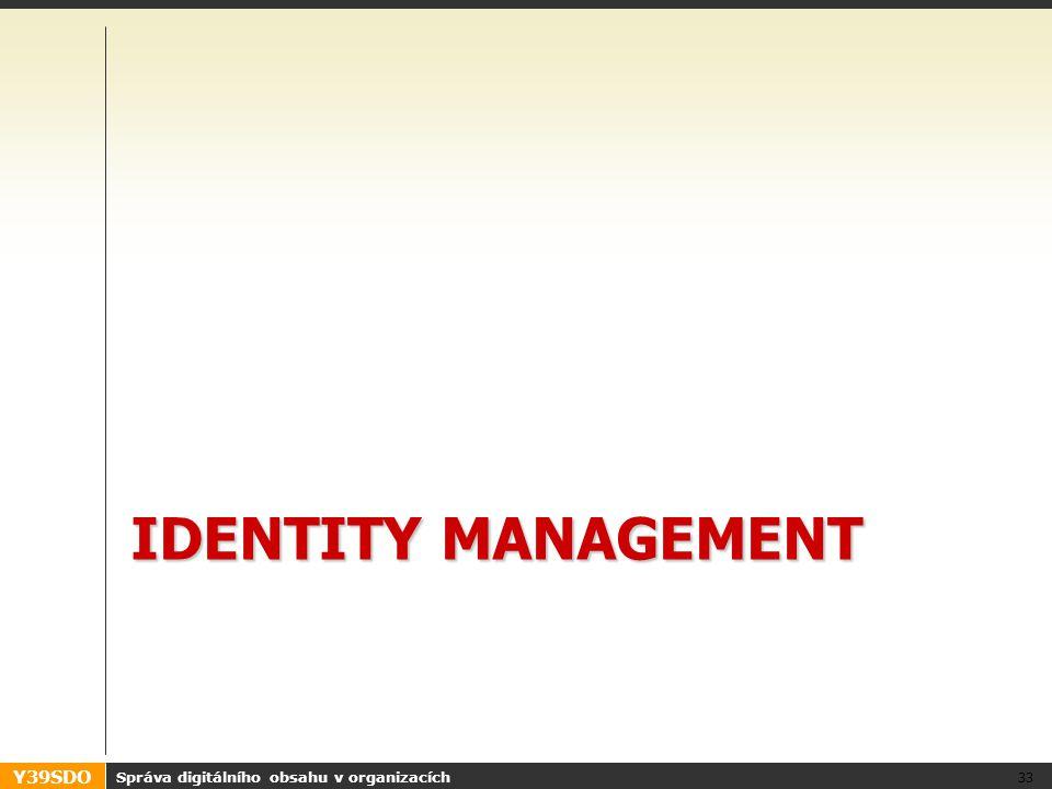 Y39SDO IDENTITY MANAGEMENT Správa digitálního obsahu v organizacích 33